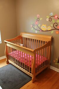 Solid wood crib and change table