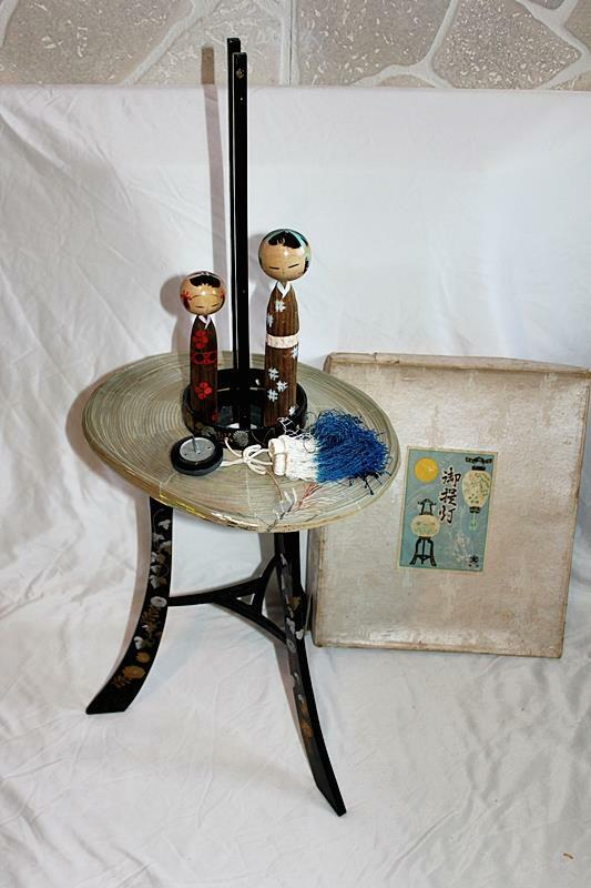 Vintage Chinese Paper Lantern with Stand & Two Chinese Wooden Painted Figures