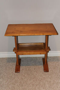 Solid Maple Side Table & Magazine Rack
