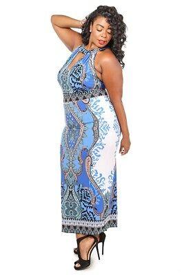 Plus Size Tribal Dress (Plus Size Red or Blue Dashiki Tribal Print Sleeveless Long Maxi Dress 1X 2X)