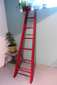 Red Solid Wood Orchard Ladder