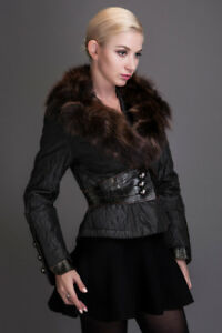 Brand new black coat with natural raccoon fur collar, size S