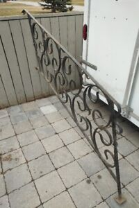 Vintage Wrought Iron Stair Railin - 1920, Intricate Pattern
