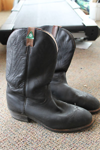 CSA Approved Black Steel Toed Cowboy Boots