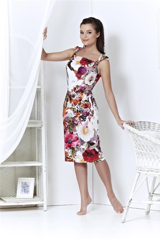 Elegantes Designerkleid Stretchkleid Knielang Mehrfarbig TopDesign Gr. XL