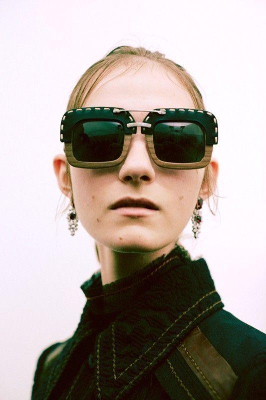 7e1eec315ada Prada SPR 26R Black Leather Wooden Wood Sunglasses NWT 955