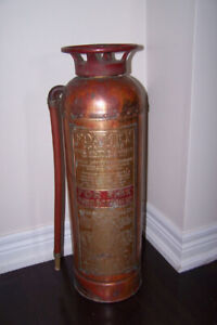 """Vintage """"Foamex"""" Copper and Brass Fire Extinguisher"""
