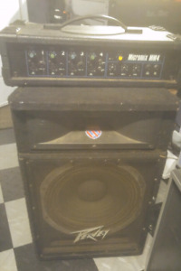 PA speaker and 159 watt 4 channel powered mixer