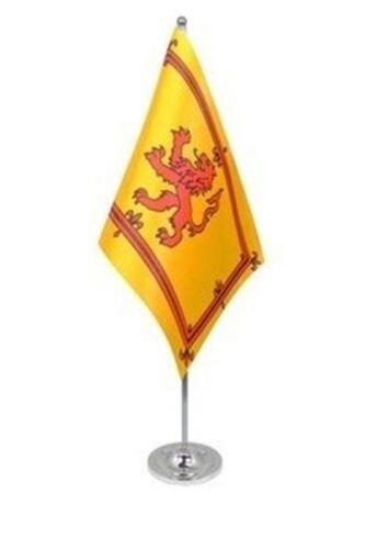 "SCOTLAND LION DELUXE SATIN TABLE FLAG 9""X6"" CHROME Stands 15"" UK SCOTTISH"