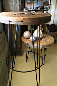 RUSTIC BISTRO TABLE, HANDCRAFTED, WOOD WITH HAIR PIN LEGS