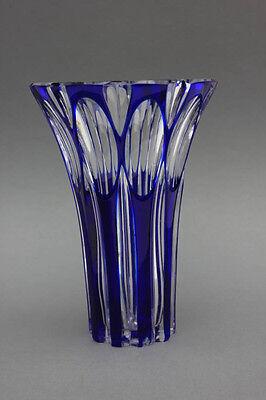 Vase Kristallglas , blau überfangen