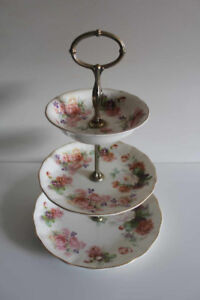 Beautiful 3-Tier Cake Stand & Dish with Rose Design