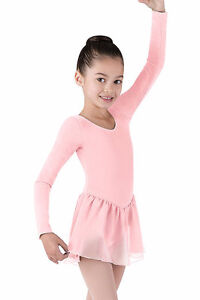 Girl's Long-sleeve pale pink Dance Leotard with Skirt size 7-8