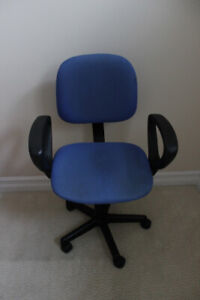 Swivel office arm chair - bright blue color