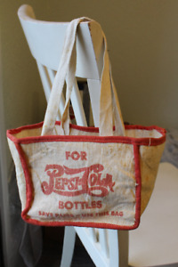 RARE 1940'S PEPSI DOUBLE DOT 6 PACK CLOTH BAG CARRIER