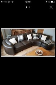 Large Brown Leather Left Hand Sofa