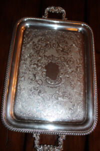 SILVER PLATED ON COPPER LARGE TRAY PRIMROSE B.M. MTS 708