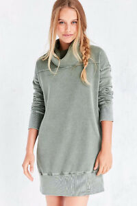 Silence + Noise Washed Turtleneck Sweatshirt Mini Dress - BLUE