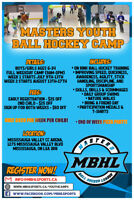 MASTERS YOUTH BALL HOCKEY CAMP REGISTER NOW!!