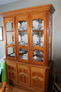 Solid ash wood china cabinet
