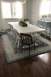 """White Solid wood x-style base table (7' 9"""")"""