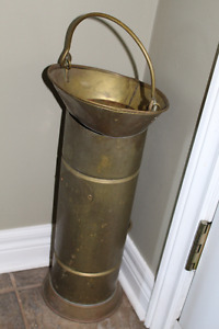 VIntage BRASS Coal Bucket ( or use for umbrella stand )