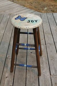 Bar stools, hand painted wood