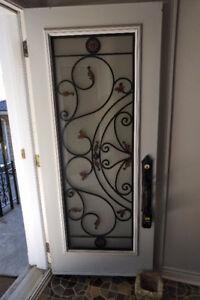 Door - 34(w) x 79, Steel Double Door, Full Lite, Wrought Iron In