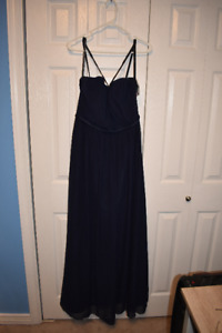 Navy Blue Bridesmaid Dress- Spaghetti Strap Size 14