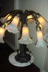 Lily Pad Lamp, Twelve Trumpet  Frosted Glass Shades