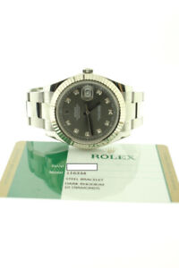 ROLEX DATEJUST II STEEL 41MM DARK RHODIUM DIAMOND DIAL 116334