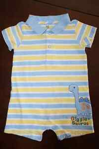 Carters Giggle-Saurus Cotton 1 piece shorts outfit-9 months