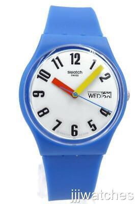 New Swatch Swiss Originals SOBLEU Silicone Blue Watch Date 34mm GS703 $70