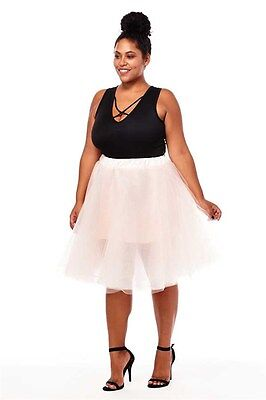 PLUS SIZE TuTu Tulle A-Line Pleated Long Tea Knee Length Skirt BLUSH 1X 2X 3X ()