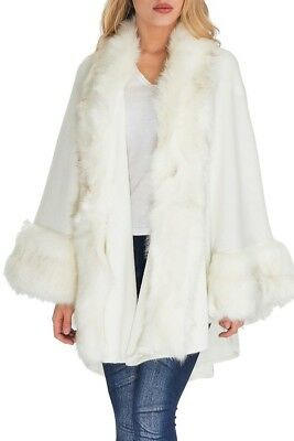 NWT Faux Fur Trimmed Shawl Poncho Sweater Jacket - Cream (Faux Fur Cape)