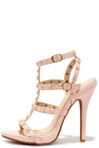 Sexy/Cute Nude Pink Strappy Studded Valentino-style Sandal Heels