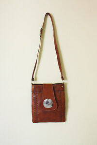 Brown Spanish Leather Cross-Body Purse