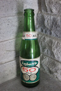 """Rare 1950s Labatt's """"50"""" Green Bottle With Both Labels"""