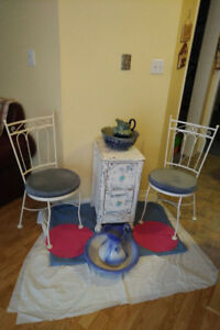 2 PARLOR CHAIRS/ANTIQUE CABINET+ 2 JUG-Basin Sets*SEE EACH PRICE