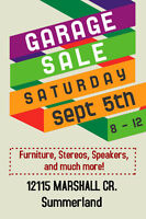 Garage Sale - Furniture, Stereos, Speakers and much more!