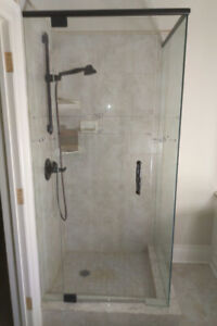 Glass Shower Stall Set - 37(w) x 33 x 76, Dark Bronze Hardware