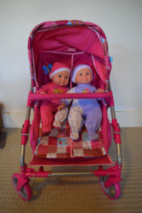 Double Doll Stroller with Twin Babies