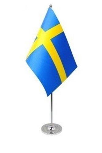 "SWEDEN DELUXE SATIN TABLE FLAG 9""X6"" CHROME SWEDISH SVERIGE Stockholm"