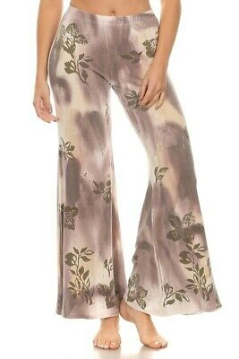 T-PARTY Plum & Olive Vintage Floral Wide Leg Capri Palazzo Yoga Pants S M L  - Plum Party