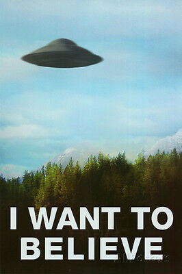 The X Files I Want To Believe Tv Ufo Poster Print  24X36 Mulder