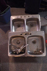 2 stainless steel sinks