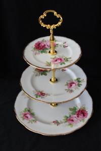 AMERICAN BEAUTY 3 TIERED CAKE STAND - ROYAL ALBERT