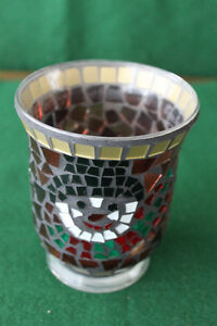 Christmas Mosaic glass Candle holder 5 inches high