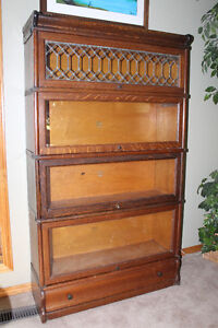 Rare 4 stack Antique Barrister's Bookcase with leaded glass pane