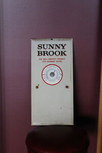 VINTAGE TIN SUNNY BROOK WHISKEY THERMOMETER